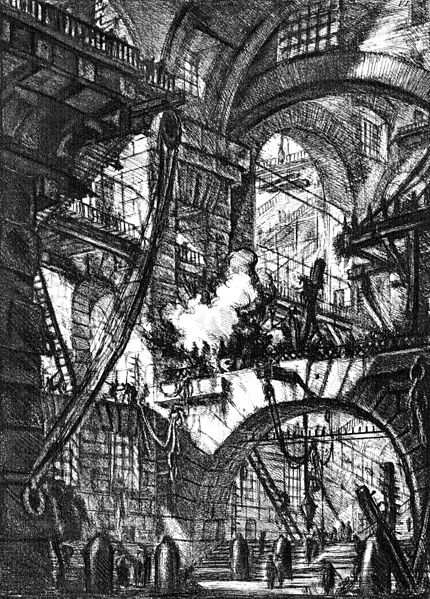"Giovanni Battista Piranesi Untitled etching (called ""The Smoking Fire""), plate VI (of 16) from the series The Imaginary Prisons (Le Carceri d'Invenzione), Rome, 1761 edition (reworked from 1745)."