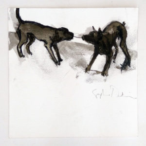 Two Dogs Playing 2 by Sophie Dickens