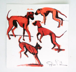 Four Jumping Dogs by Sophie Dickens